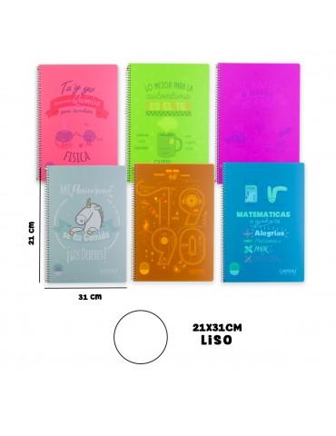 Casterli - Pack De 6 Cuadernos Inspire, tapa plástico, tamaño folio, interior liso, 90g - COLORES SURTIDOS